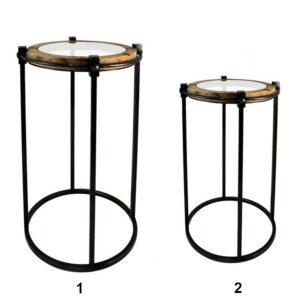 Table ronde en bois, métal et verre