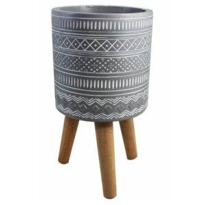 Pot en céramique sur pattes en bois