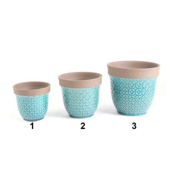 Pot en céramique aqua avec bordure brune