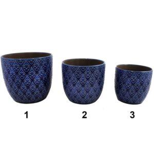 Pot en céramique bleu avec motifs