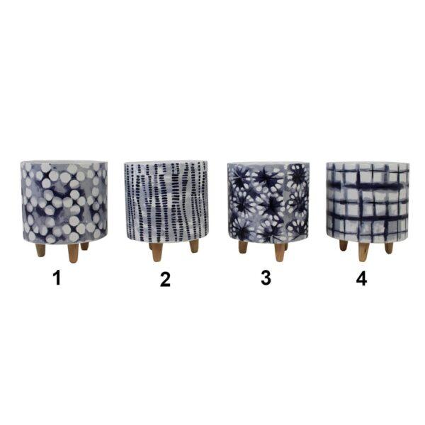 Pot en céramique sur pattes en bois motif noir et blanc