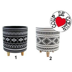 Pot en céramique sur pattes en bois noir et blanc